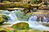 Nice small waterfall on mountain river