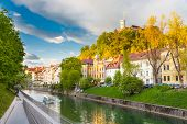 stock photo of medieval  - Medieval houses in Ljubljana old city centre on Ljublanica - JPG