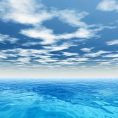 High resolution concept conceptual sea or ocean water waves and sky cloudscape exotic or paradise sq