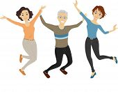 Illustration of a Group of Senior Citizens Doing a Jump Shot
