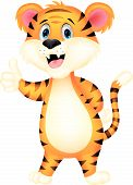 stock photo of tigress  - Vector illustration of Cute tiger cartoon giving thumbs up - JPG