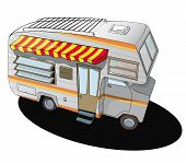 stock photo of camper-van  - comic style camper van  - JPG