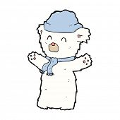 cartoon cute polar bear in hat and scarf
