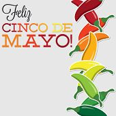 image of chillies  - Cinco De Mayo Chilli Card In Vector Format - JPG
