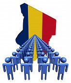 stock photo of chad  - Lines of people with Chad map flag illustration - JPG