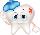 stock photo of bad teeth  - Vector illustration of Sick tooth cartoon isolated on white background - JPG
