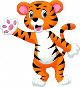 stock photo of tiger cub  - Vector illustration of Cute tiger cartoon waving hand - JPG