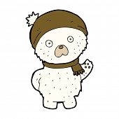 cartoon cute polar bear in winter hat and scarf