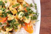 Thai coconut and mango curry with diced chicken