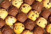 stock photo of chocolate muffin  - Freshly Baked Chocolate and Plain Choc - JPG