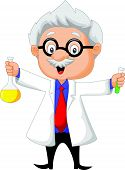 picture of academia  - Vector illustration of Cartoon scientist holding chemical flask - JPG