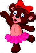 stock photo of bear cub  - Vector illustration of Baby bear cartoon dancing - JPG