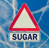 picture of compose  - Sugar danger warning composed of white triangular traffic warning sign with the word  - JPG