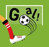 stock photo of flat-foot  - Soccer player kicking a soccer ball at goal - JPG