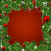 Christmas red frame background with fir twigs and balls. Vector illustration.