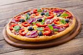 foto of yellow-pepper  - Pizza with ham - JPG