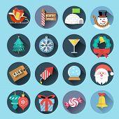 stock photo of igloo  - Christmas flat icons  - JPG