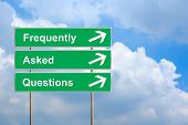 foto of faq  - FAQ or Frequently asked questions on green road sign with blue sky - JPG