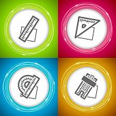 stock photo of protractor  - Office Supply Objects - ruler square protractor slide rule. 