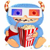 stock photo of bigfoot  - 3 d cartoon cute blue monster toy - JPG