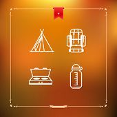 picture of tipi  - 4 icons in relations to summer outdoor activity pictured here from left to right top to bottom - 