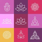 stock photo of outline  - Vector yoga icons and round line badges  - JPG