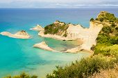 foto of sidari  - View from the hill to Cape Drastis at Corfu island in Greece - JPG