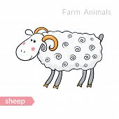 pic of counting sheep  - Vector cartoon sheep with thick fur isolated background - JPG
