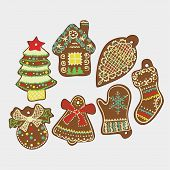 stock photo of zingiber  - Vector Christmas Card with Tasty Ginger Cookies - JPG