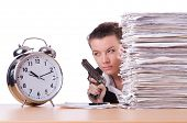 foto of running-late  - Woman with gun under stress from deadlines - JPG