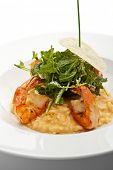 foto of tiger prawn  - Risotto with Tiger Prawns and Rucola - JPG