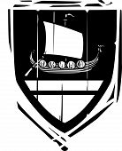 picture of arthurian  - Woodcut style Heraldic Shield with a Viking Longship - JPG