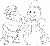 stock photo of snowmen  - Father Christmas making a funny smiling snowman with a scarf and bucket - JPG