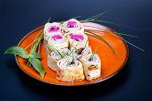 image of bread rolls  - Healthy club sandwich pita bread roll with cheese - JPG