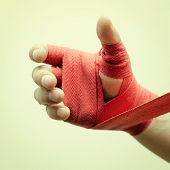 picture of bandage  - hand boxer tied a boxing special bandage - JPG