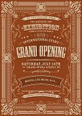 stock photo of prospectus  - Illustration of a vintage invitation background to a grand opening exhibition with various floral patterns frames banners grunge texture and retro design - JPG