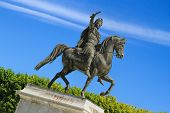 pic of nostradamus  - Statue of Louis XIV on horseback in the Garden of Peyrou Montpellier France - JPG