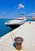 pic of bollard  - Yacht on mooring bollard dock vertical view - JPG