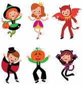 stock photo of halloween characters  - Some of the children characters in traditional Halloween costumes - JPG