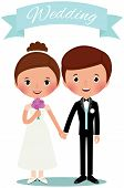 picture of boutonniere  - Illustration of a husband and wife in full growth standing holding hands - JPG