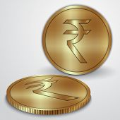 stock photo of indian currency  - Vector illustration of golden coins with Indian Rupee INR currency sign - JPG