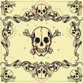 foto of skull cross bones  - Skull and Ribbon Frames in old school tattoo style set - JPG