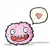 little pink furry monster cartoon poster