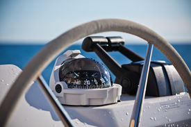 picture of sailing vessels  - Sailing yacht control wheel and implement - JPG