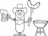 stock photo of drawing beer  - Black And White Cowboy Sausage Cartoon Character Holding A Beer And Weenie Next To BBQ - JPG