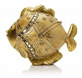 foto of metal sculpture  - golden fish sculpture isolated on the white background - JPG