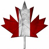 picture of canada maple leaf  - Wooden leaf of maple with the colors of the flag of Canada - JPG