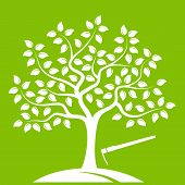 stock photo of hoe  - vector tree and hoe isolated on green background - JPG