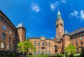 stock photo of copenhagen  - Courtyard of Copenhagen City Hall  - JPG