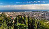 image of gaudi barcelona  - View of Barcelona and the Mediterranean Sea  - JPG